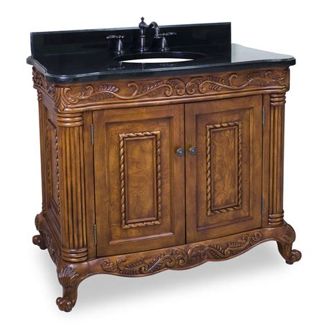Ornate Bathroom Vanity 40 Quot Burled Ornate Vanity With Optional Matching Black Granite Top By Jeffrey Van012