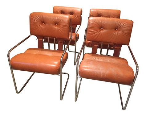 italian leather and chrome dining chairs burnt orange tucroma leather and chrome dining chairs in
