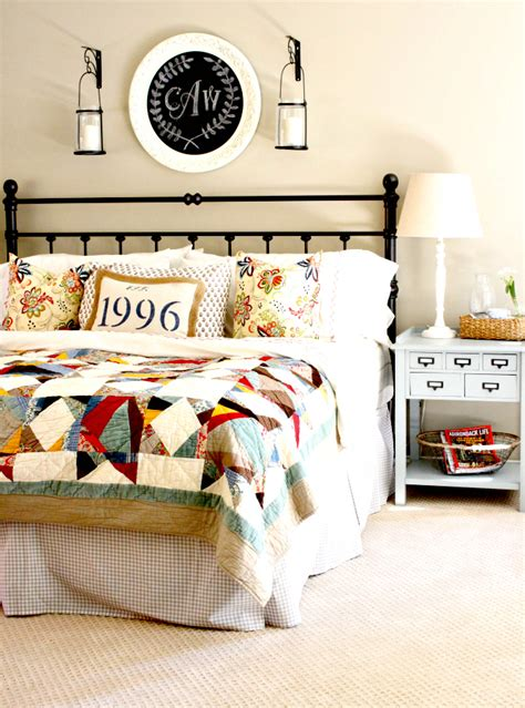 a patchwork quilt sets the for this colorful