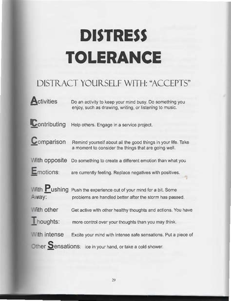 Dbt Accepts Worksheet by The Of Dialectical Behavior Therapy Distress Tolerance