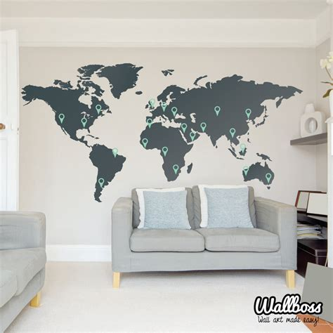 world map wall stickers large world map wall decal sticker 7ft x 3 47ft vinyl by wallboss