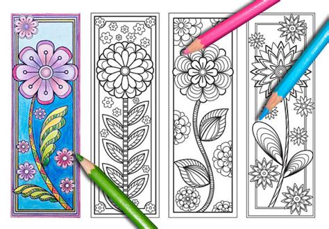 printable bookmarks spring blooming spring coloring bookmarks page instant download