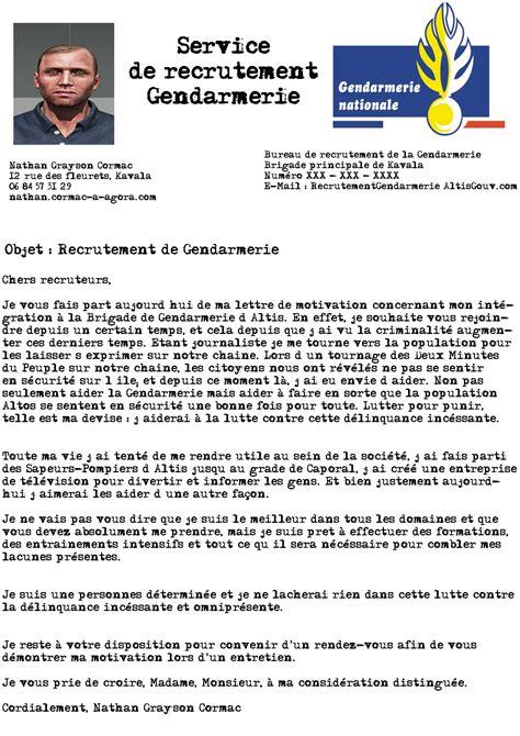 Lettre De Motivation De Gendarme Candidature Refus 233 E Candidature Nathan Grayson Cormac Agorapolis Serveur Altis Rp
