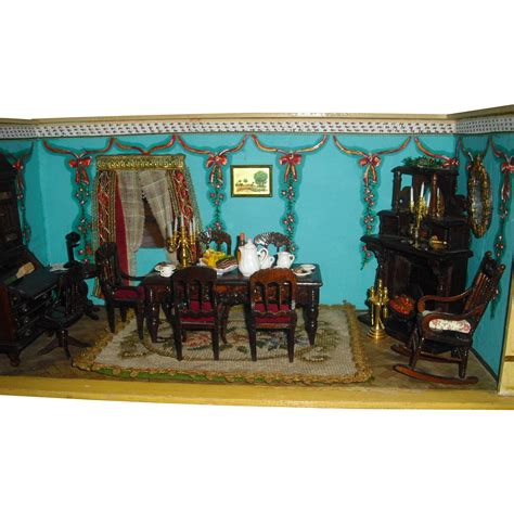 beautiful dolls house beautiful antique dolls house with hand painted wallpaper