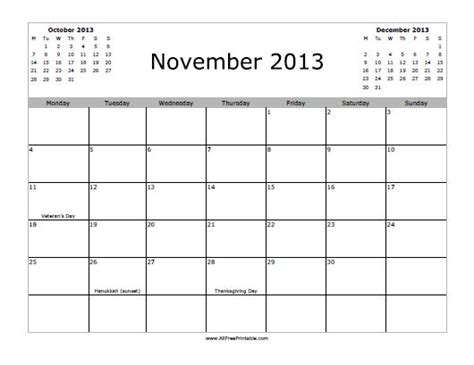 printable calendar october november december 2013 november 2013 calendar free printable myfreeprintable com