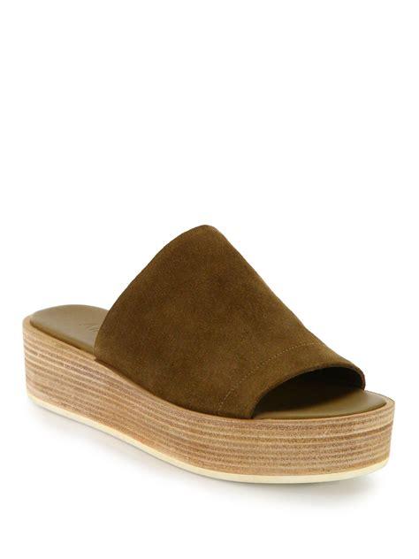 brown slide sandals lyst vince saskia leather platform slide sandals in brown