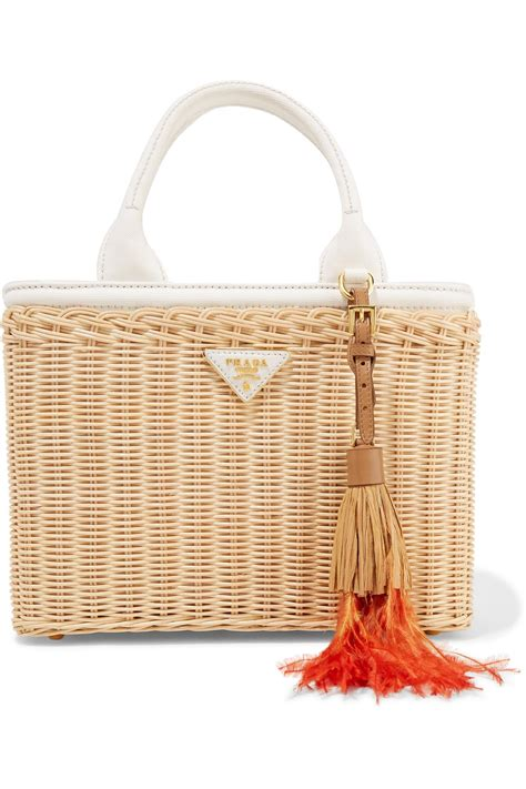 Canvas And Wicker B Fendi Bag by Lyst Prada Midollino Tasseled Canvas And Leather Trimmed