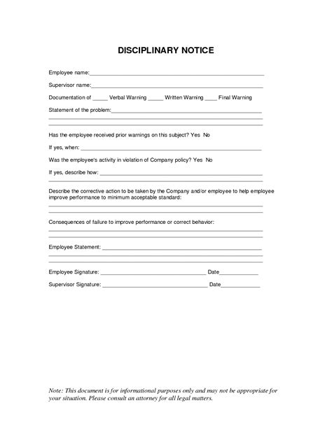 employee disciplinary write up template 10 best images of disciplinary notice template employee