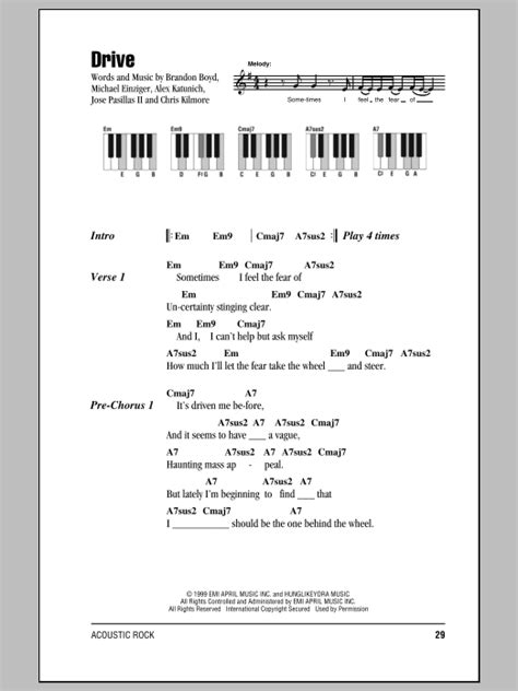 drive incubus lyrics drive sheet music by incubus lyrics piano chords 87567