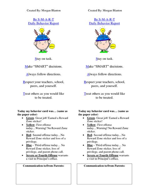 behavior report card template best photos of behavior report card template