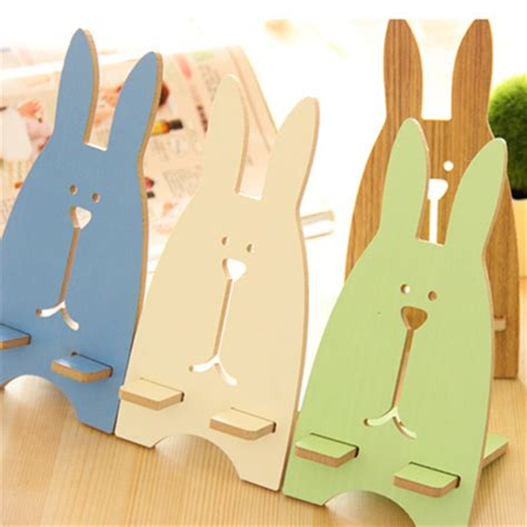 Rabbit Phone Holder fashion prison rabbit shape design wooden phone