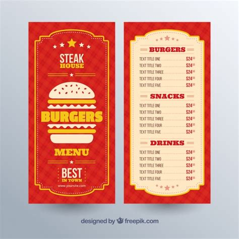 burger menu template with yellow details vector free
