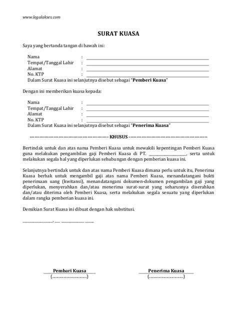 contoh surat kuasa pengambilan gaji pensiunan 28 images contoh