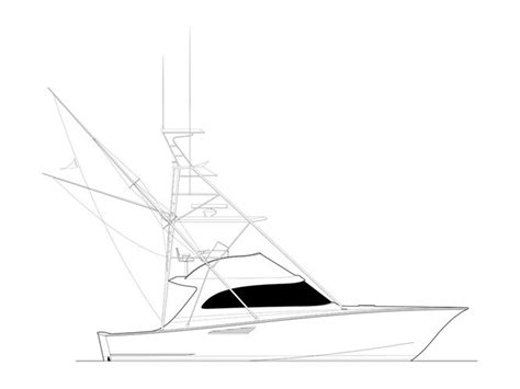 yellowfin boat drawing dickes yacht design in the water