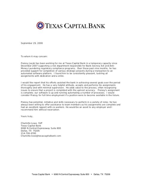 Recommendation Letter Bank Letter Of Recommendation