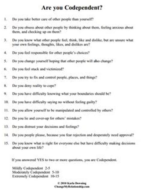 Codependency Worksheets by Codependency On Codependency Enabling And