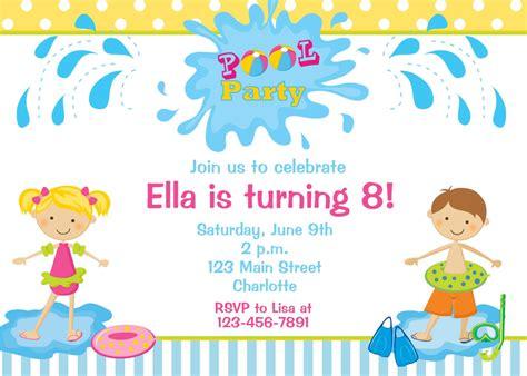 child s birthday invitations pool invitations home ideas
