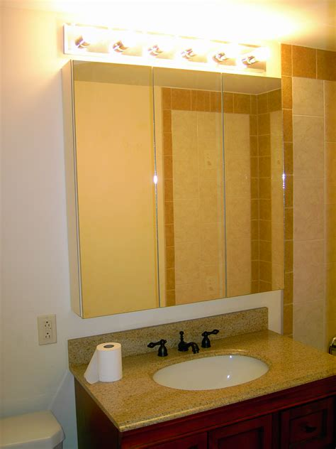 bathroom large recessed medicine cabinet with mirror and