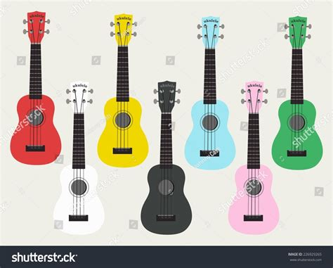 colorful ukulele ukulele hawaii colorful guitar stock vector illustration