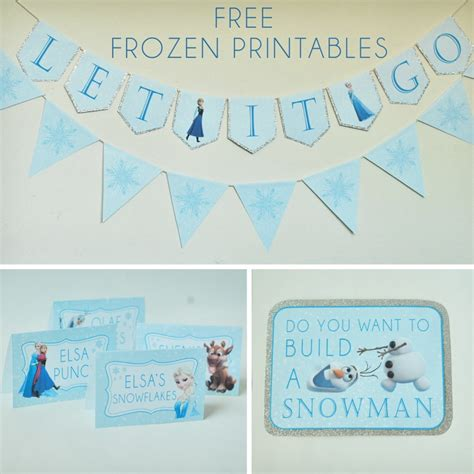 free printable snowflake birthday banner free frozen party printables set includes let it go