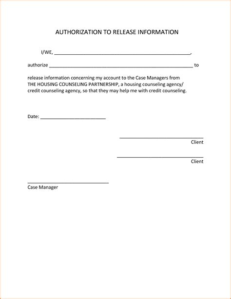 Release Authorization Letter Authorization To Release Information Template Draft