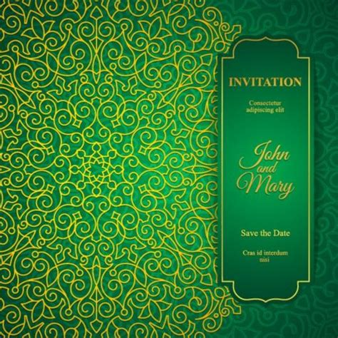 invitation card design green orante green wedding invitation cards design vector 12
