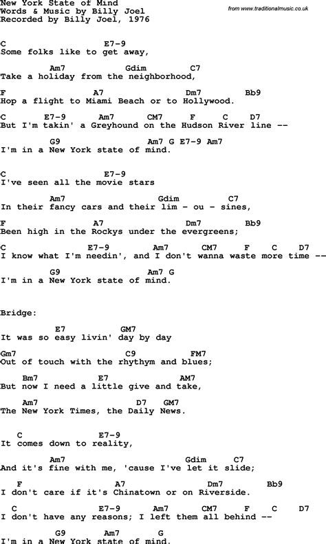 song nyc song lyrics with guitar chords for new york state of mind