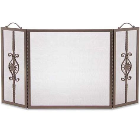 wrought iron 3 panel forged sun fireplace screen by pilgrim