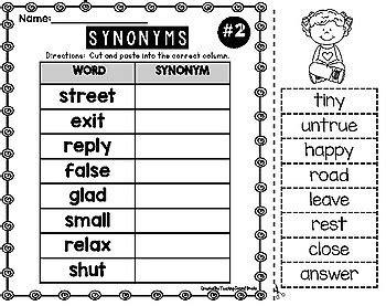 synonyms worksheets  teaching  grade teachers pay teachers