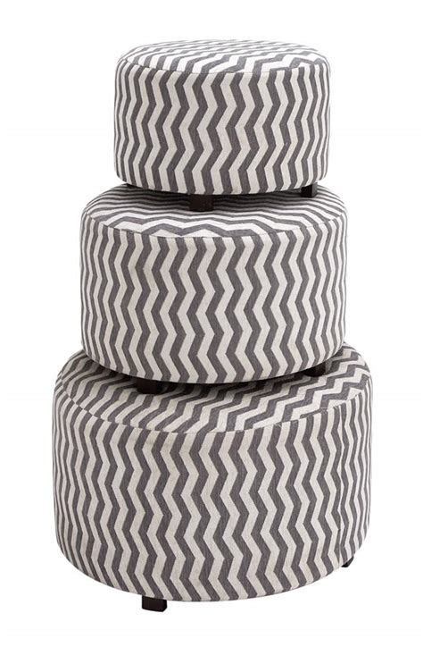 grey and white ottoman gray and white patterned fabric ottoman set of three