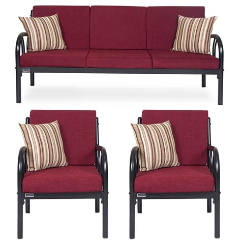 steel sofa price list furniturekraft metal 3 1 1 sofa set maroon buy