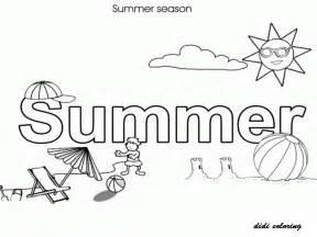 Printable summer season with hot shining sun people enjoying at beach
