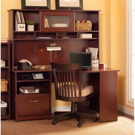 Workstation Desk With Hutch Bush Cabot 60 Quot Corner Computer Desk With Hutch In Harvest Cherry Wc31415 03 Pkg2