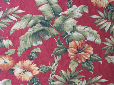 cotton floral upholstery fabric tropical hawaiian orange