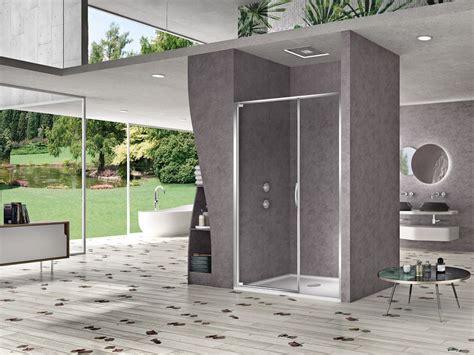 box doccia con porta battente box doccia con porta battente e fisso in linea per nicchia