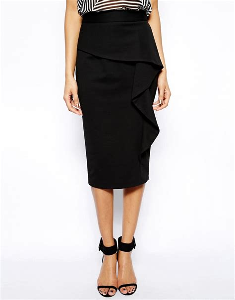 image 4 of asos pencil skirt in ponte with ruffle front