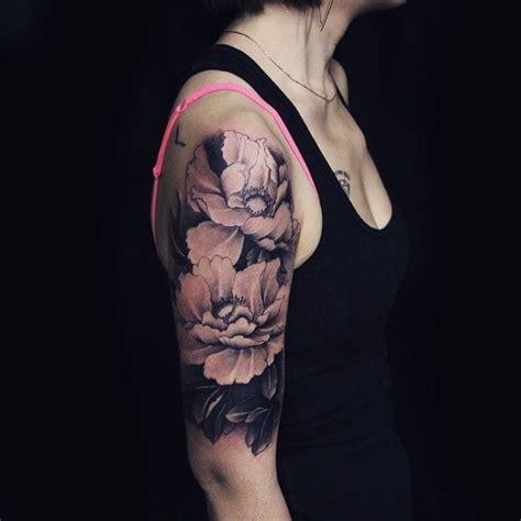 peony tattoo black and grey black and grey peony half sleeve tattoo creativefan