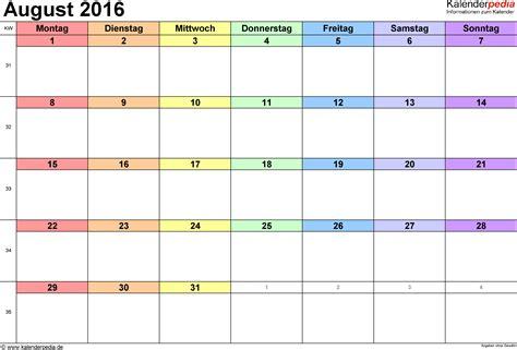 2016 Calendar August Kalender August 2016 Als Excel Vorlagen