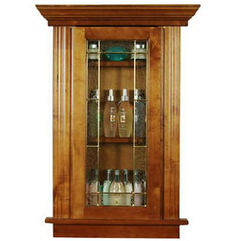 recessed cabinetry medium oak bathroom display cabinet