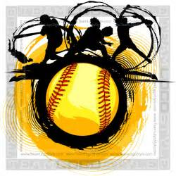 Softball Design Templates by Fast Pitch Softball Design Vector Clipart Players