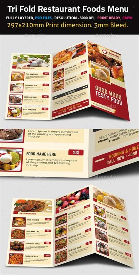 free tri fold menu template food menu templates graphicriver sweet shop and