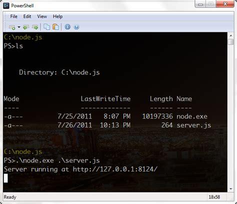 simple node js server exle node js on windows or javascript for the backend