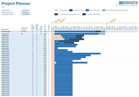 Simple Project Planner for Excel