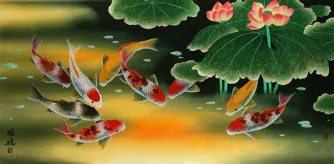 Lukisan Koi Big Myy 12 koi fish and painting asian koi fish paintings