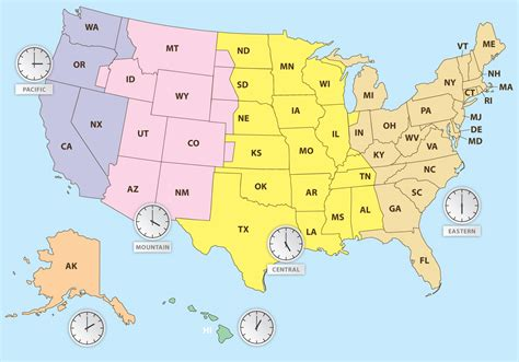 time zones map america time zones of us map free vector stock