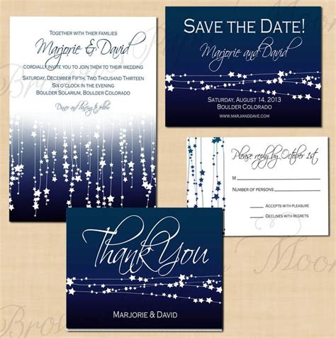wedding save the date text exles midnight blue streamers save the date invitation rsvp and thank you package text