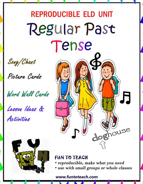 card endings regular past tense verbs song and picture cards to teach