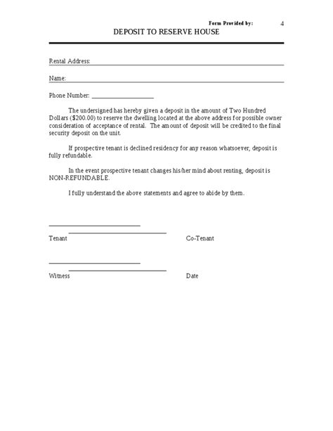 Apartment Deposit Form Read Book Pet Agreement Free Lease Forms Landlord Forms