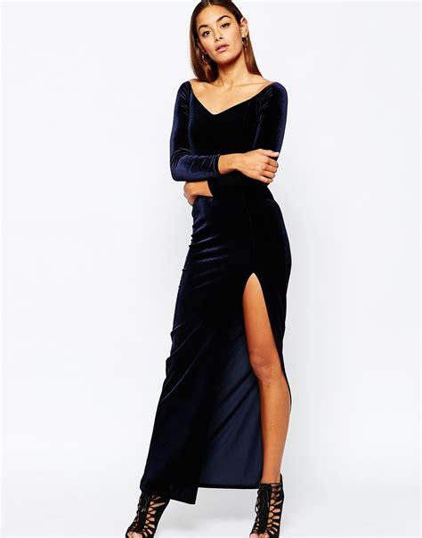 Maxi Prissia Velvet Blue missguided velvet bardot maxi dress with thigh split in blue lyst