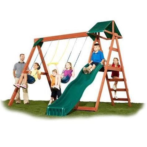 wooden swing set kits home depot swing n slide mckinley ready to assemble swing set with